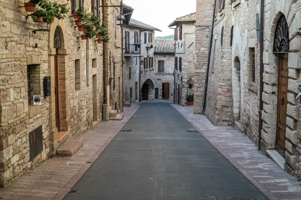 Assisi, Italy: one of the quaint side streets through the town