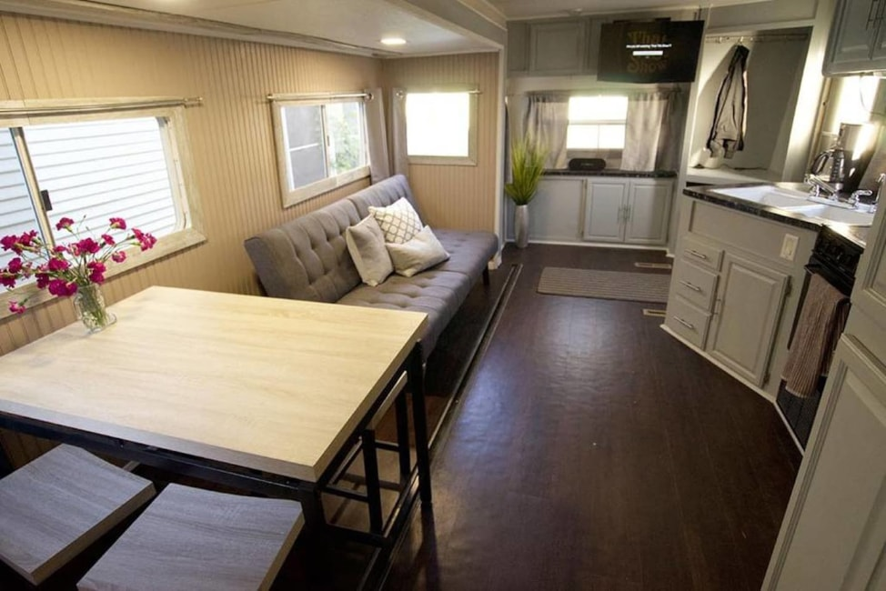 7 Airbnb tips for first time users: the interior of a RV in Austin, Texas