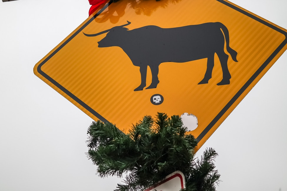 Visit Fort Worth: the longhorn crossing sign in the Stockyards in Old Fort Worth