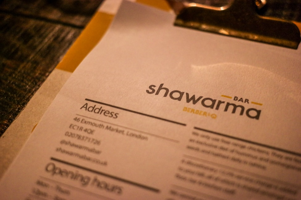 unique London restaurants: the menu at Bar Shawarma in London