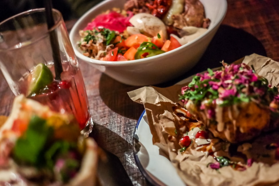 unique London restaurants: the spread at Bar Shawarma in Clerkenwell