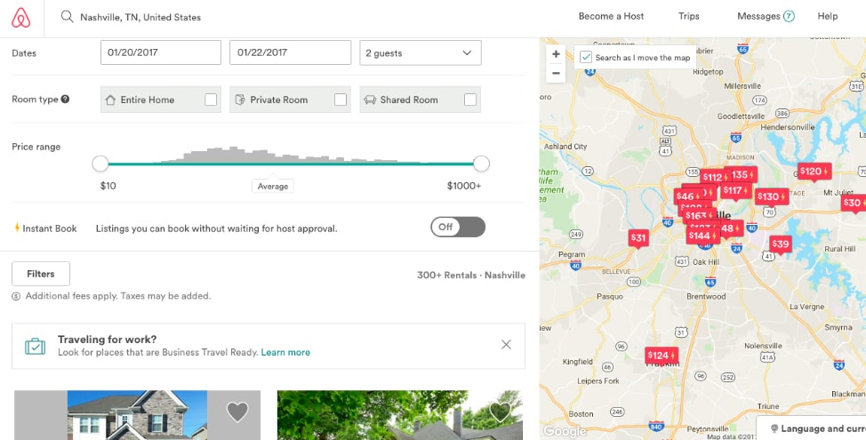 7 Airbnb tips for first time users: the search results screen from Airbnb