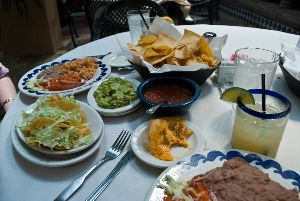 Visit Fort Worth: the food spread at Joe T. Garcia's in Fort Worth