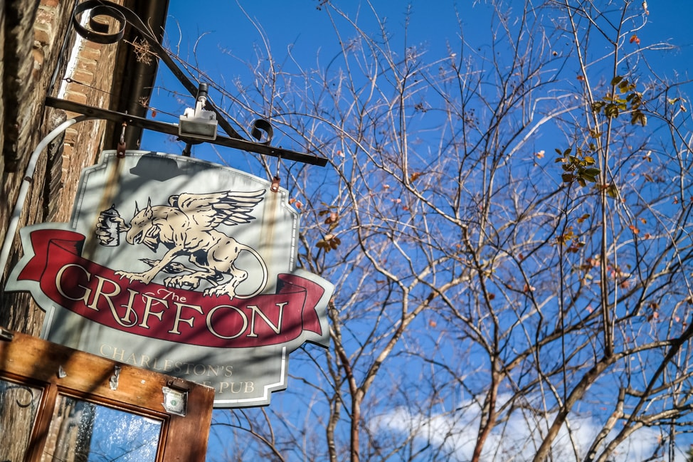best things to do in charleston: the signage for The Griffon pub