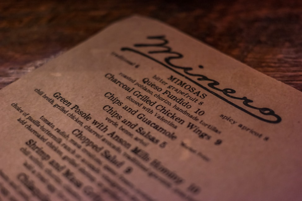 best things to do in charleston: the menu at Minero
