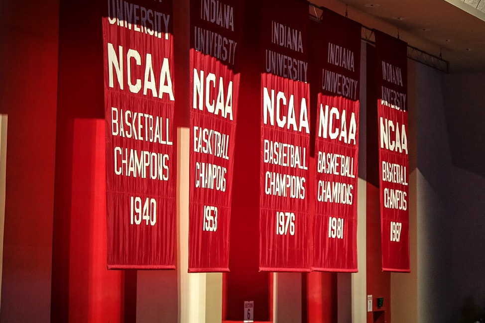 Things to Do in Bloomington, Indiana: The IU championship banners at Alumni Hall