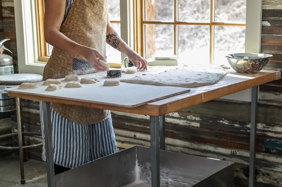 The best West Asheville breakfast: the kitchen staff shaping the doughnut dough