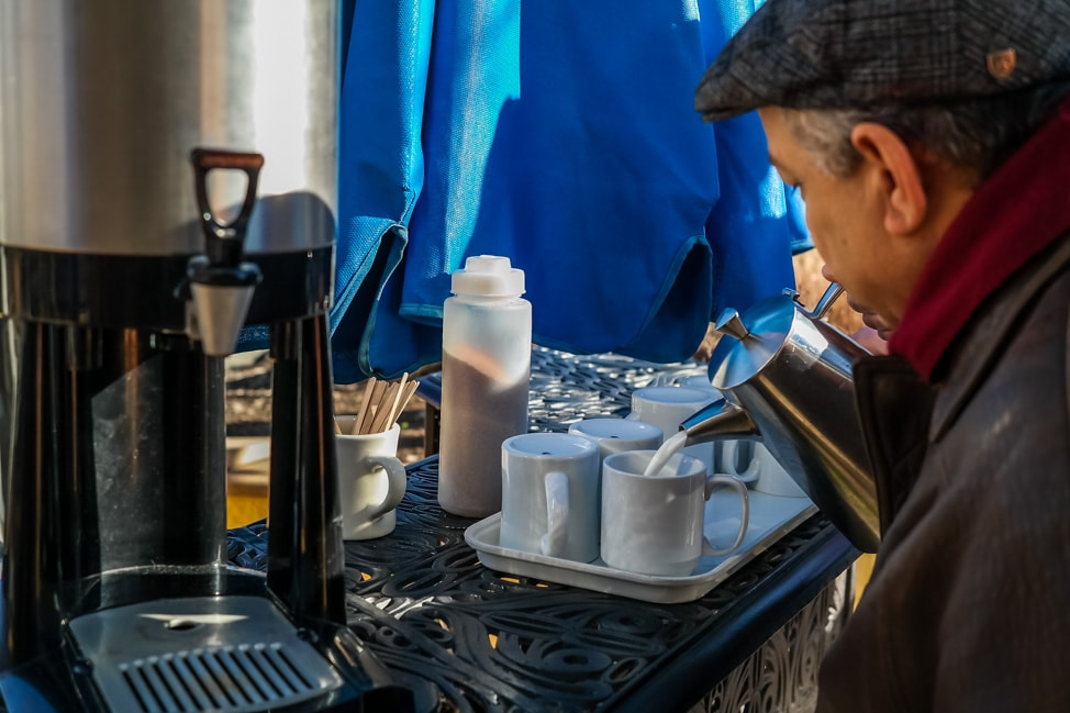 The best West Asheville breakfast: the free coffee for those waiting for a table at the Sunny Point Cafe