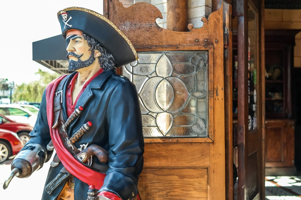 amelia island wedding a pirate in downtown Fernandina
