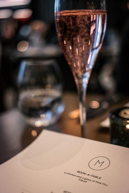 Glass of pink fizz at M Threadneedle Street