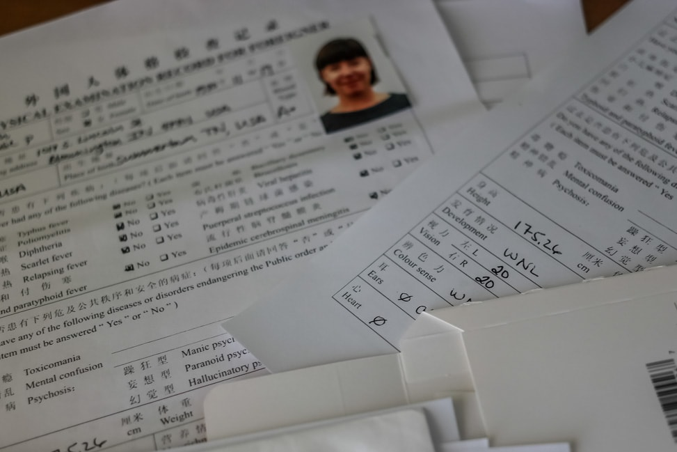 chinese visa application process the health check paperwork to ensure we don't have the plague