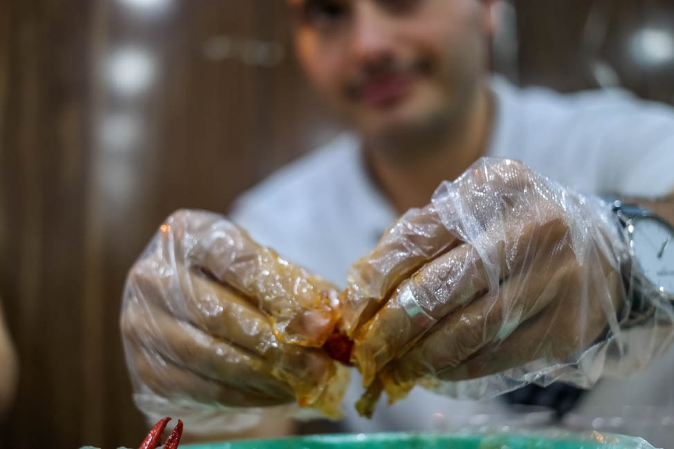 Eating crawfish in the Shanghai night market tour